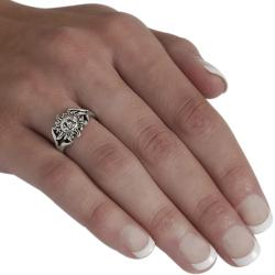 Journee Collection  Sterling Silver Sun Face Ring - Thumbnail 2