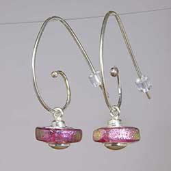 Handmade Sterling Silver Pink Dichroic Glass Bead Earrings (Mexico)
