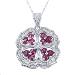 14k White Gold and Ruby 1/4ct TDW Diamond Necklace (H-I, I1-I2)