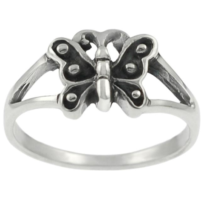 Journee Collection Sterling Silver Oxidized Butterfly Ring