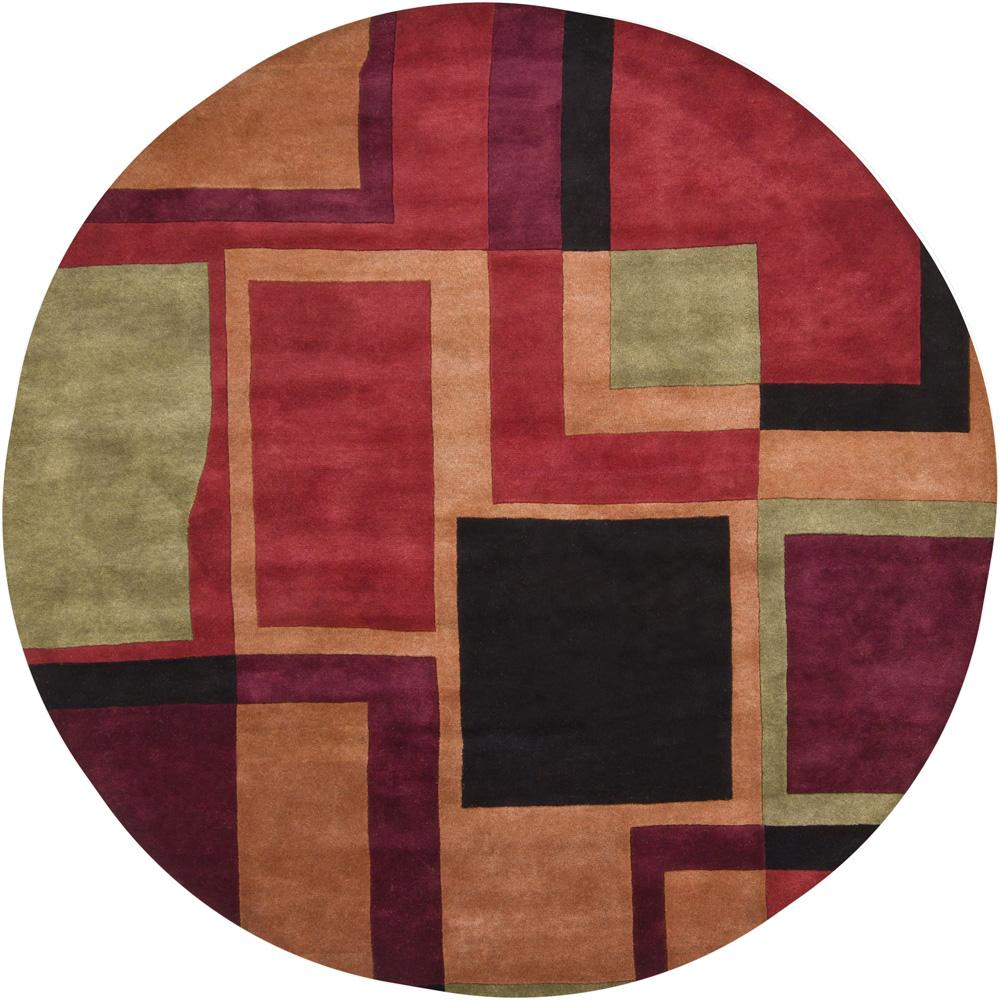 Hand-Tufted Multicolor Mandara New Zealand Wool Rug (7'9 Round)