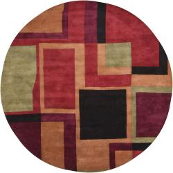 Hand-Tufted Multicolor Mandara New Zealand Wool Rug (7'9 Round) - Thumbnail 1