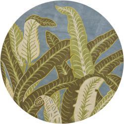 Hand-tufted Mandara Blue Wool Rug (7'9 Round) - Thumbnail 2