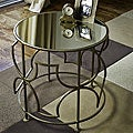 Handmade Brass-plated Iron Mirrored Round SideTable (India)