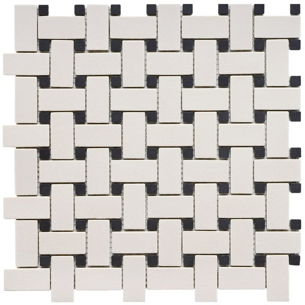 SomerTile 12x12 inch New York Basket Weave Unglazed Porcelain Tile (Pack of 10)