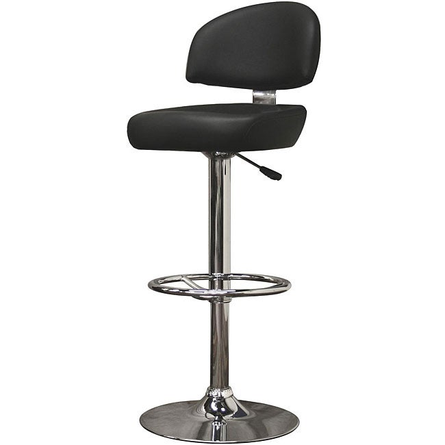 Grayson Modern Black Faux Leather Bar Stools (Set of 2)