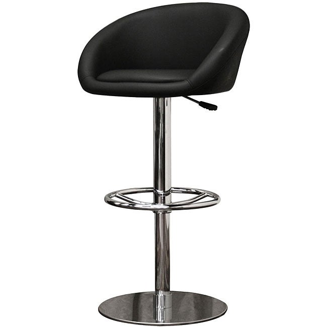wynn modern black faux leather bar stools set of 2 free shipping today. Black Bedroom Furniture Sets. Home Design Ideas