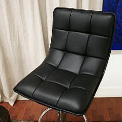 Aleena Modern Black Faux Leather Bar Stools (Set of 2) - Thumbnail 2
