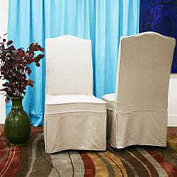 Coralie Beige Linen Slipcover Effect Dining Chairs (Set of 2)
