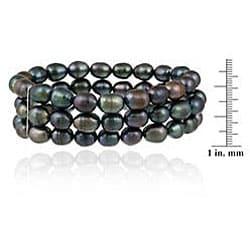 Glitzy Rocks Sterling Silver Peacock Freshwater Pearl 3-row Stretch Bracelet (7-9 mm)