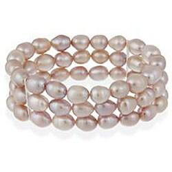 Glitzy Rocks Silver Pink Freshwater Pearl 3-row Stretch Bracelet (7-9 mm)