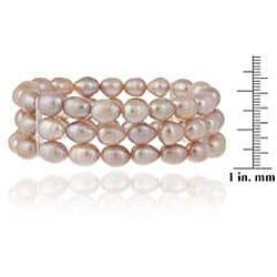 Glitzy Rocks Silver Pink Freshwater Pearl 3-row Stretch Bracelet (7-9 mm) - Thumbnail 2
