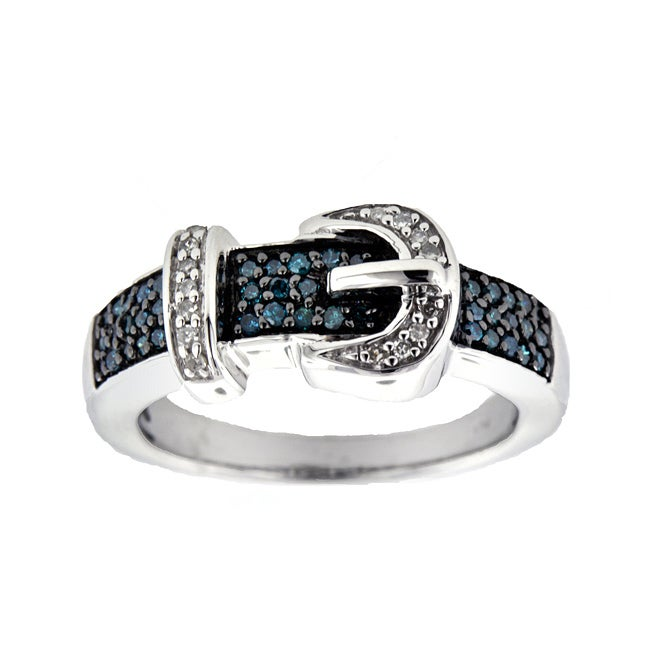 Silver 1/4ct TDW Blue and White Diamond Buckle Ring (Size 7) - Thumbnail 0
