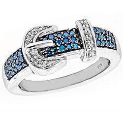 Silver 1/4ct TDW Blue and White Diamond Buckle Ring  (Size 7) - Thumbnail 1