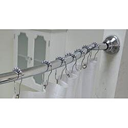 Adjustable Curved Shower Rod with Shower Liner and Hook Set by Elegant Home Fashions