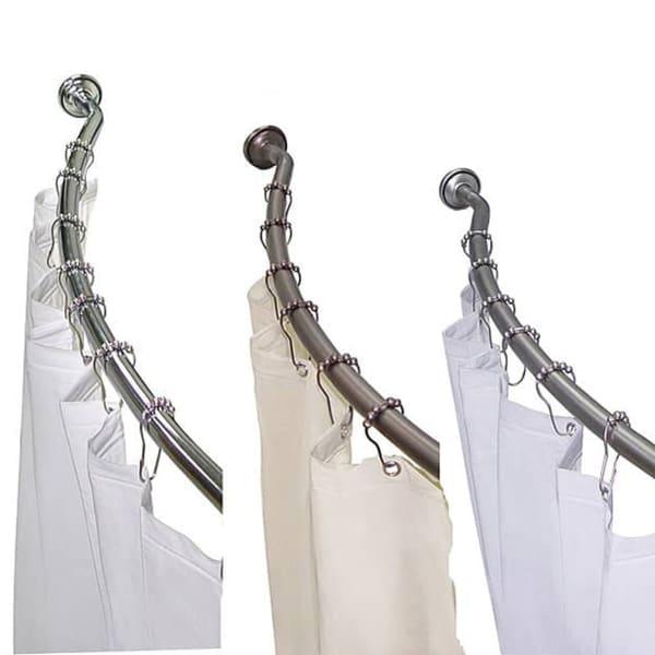 Adjustable Curved Shower Rod with Shower Liner and Hook Set by Elegant Home Fashions
