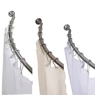 Adjustable Curved Shower Rod with Shower Liner and Hook Set by Elegant Home Fashions|https://ak1.ostkcdn.com/images/products/5271350/P13087631.jpg?impolicy=medium