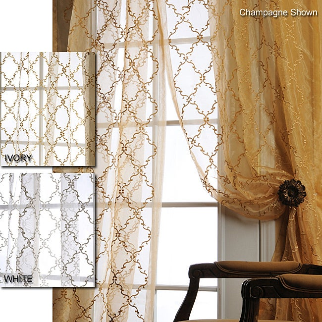Exclusive Fabrics Jonquille 108-inch Faux Silk Embroidered Organza Sheer Panel
