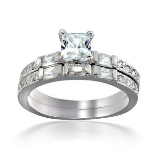 Icz Stonez Sterling Silver Square-cut Cubic Zirconia Bridal Ring Set