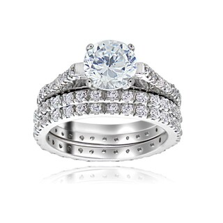 Icz Stonez Sterling Silver Prong-set Cubic Zirconia Bridal Ring Set (Option: Silver, Size 10)