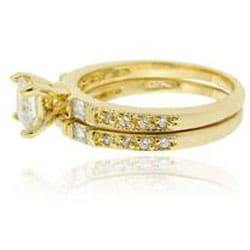 Icz Stonez 18k Gold over Sterling Silver Prong-set Cubic Zirconia Bridal Ring Set - Thumbnail 1