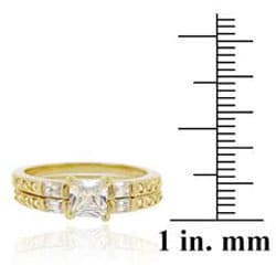 Icz Stonez 18k Gold over Sterling Silver Prong-set Cubic Zirconia Bridal Ring Set - Thumbnail 2