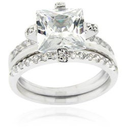 Icz Stonez Sterling Silver Cubic Zirconia Bridal Ring Set