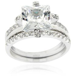 Icz Stonez Sterling Silver Cubic Zirconia Bridal Ring Set - Thumbnail 0