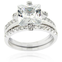 Icz Stonez Sterling Silver Cubic Zirconia Bridal Ring Set (5 options available)