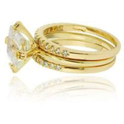 Icz Stonez 18k Gold over Sterling Silver Cubic Zirconia Bridal Ring Set - Thumbnail 1