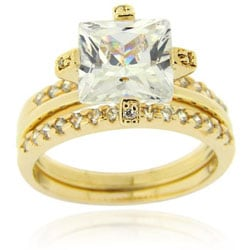Icz Stonez 18k Gold over Sterling Silver Cubic Zirconia Bridal Ring Set - Thumbnail 0