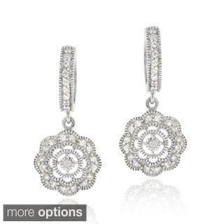 Icz Stonez Cubic Zirconia Flower Dangle Earrings