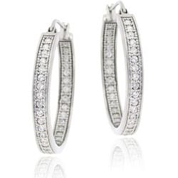 Icz Stonez Sterling Silver Inside-out Micro-pave Cubic Zirconia Hoop Earrings