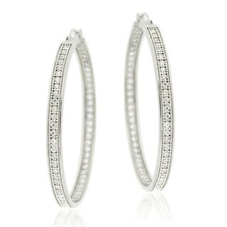 Icz Stonez Sterling Silver Large Inside-out Micro-pave Cubic Zirconia Hoop Earrings