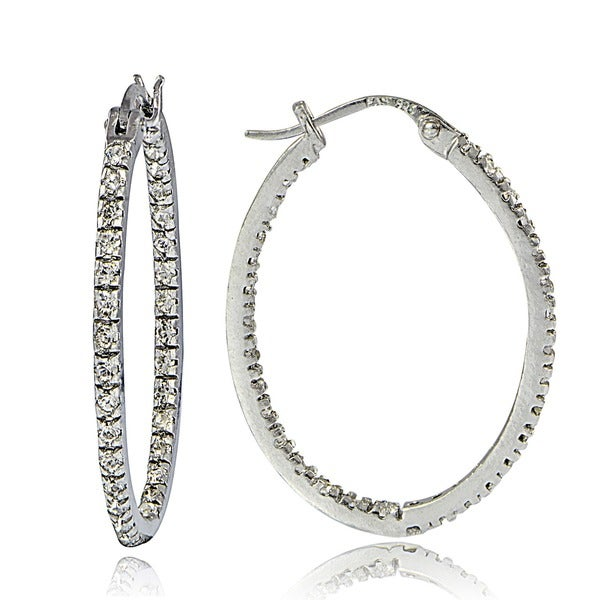 925 Sterling Silver Inside Out White Round Diamond Hoop Earrings