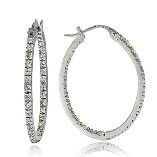 Icz Stonez Sterling Silver Inside-out Cubic Zirconia Oval Hoop Earrings