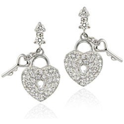 Icz Stonez Sterling Silver Heart and Key Cubic Zirconia Dangle Earrings