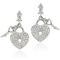 Icz Stonez Sterling Silver Heart and Key Cubic Zirconia Dangle Earrings