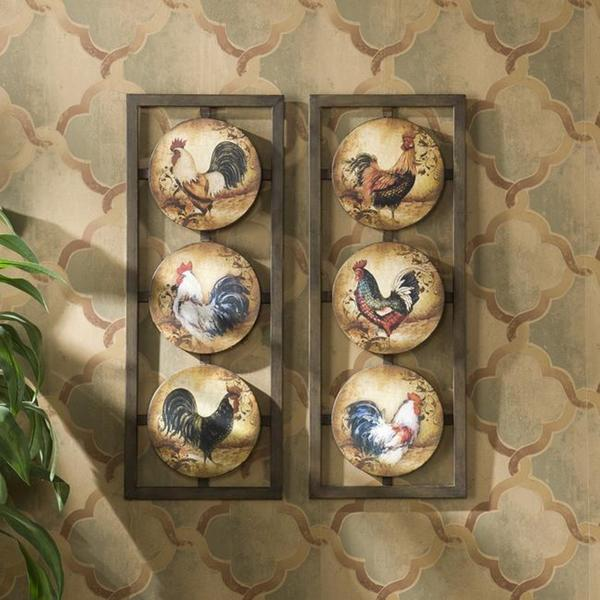 Rooster 2-piece Wall Panel Art