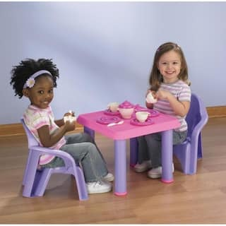 American Plastic Toys Table Chairs and 28-pc Tea Party Set|https://ak1.ostkcdn.com/images/products/5272001/P13088129.jpg?impolicy=medium