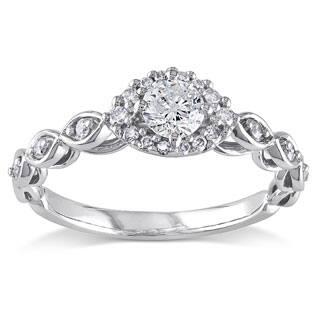 Miadora 1/2 CT Diamond TW Fashion Ring 10k White Gold GH I2;I3|https://ak1.ostkcdn.com/images/products/5272043/Miadora-10k-White-Gold-1-2ct-TDW-Diamond-Halo-Ring-G-H-I2-I3-P13088166.jpg?impolicy=medium