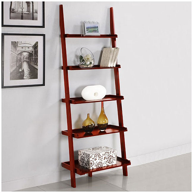 Superieur Five Tier Cherry Leaning Ladder Shelf
