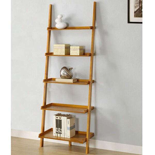 Shop Oak Five Tier Leaning Ladder Shelf Free Shipping