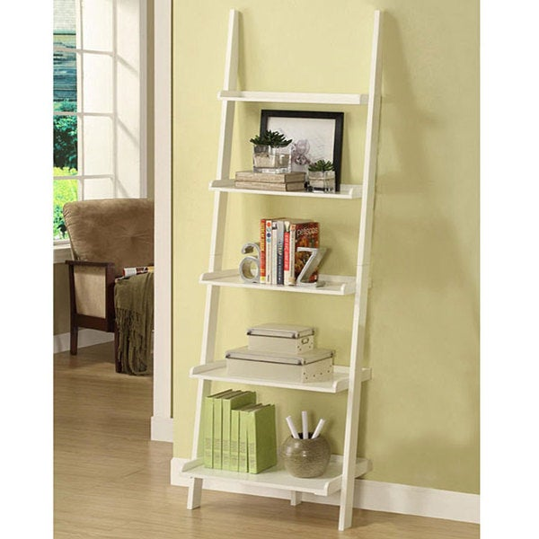 White Five-tier Leaning Ladder Shelf