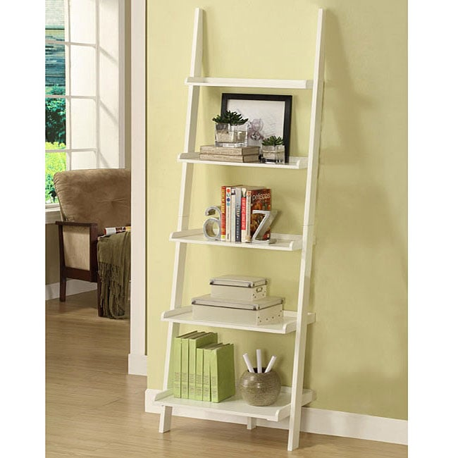 White Five-tier Leaning Ladder Shelf - Thumbnail 0