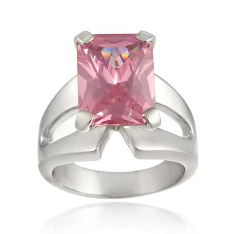 Icz Stonez Sterling Silver Light Pink Cubic Zirconia Ring