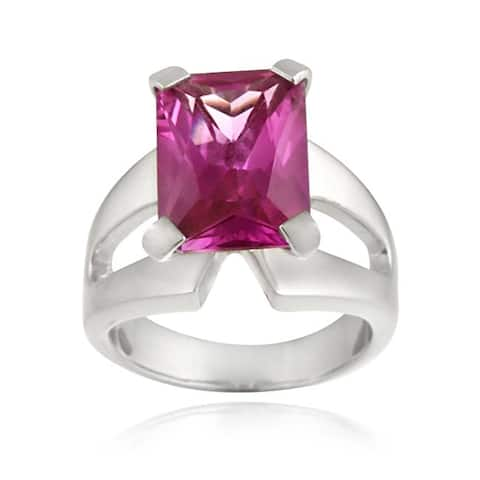 Icz Stonez Sterling Silver Dark Pink Cubic Zirconia Ring