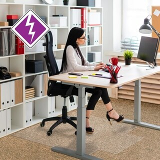 "Computex Anti-Static Advantagemat PVC Chair Mat standard pile carpets (3/8"" or less) Rectangular with Lip Size 45"" x 53"""