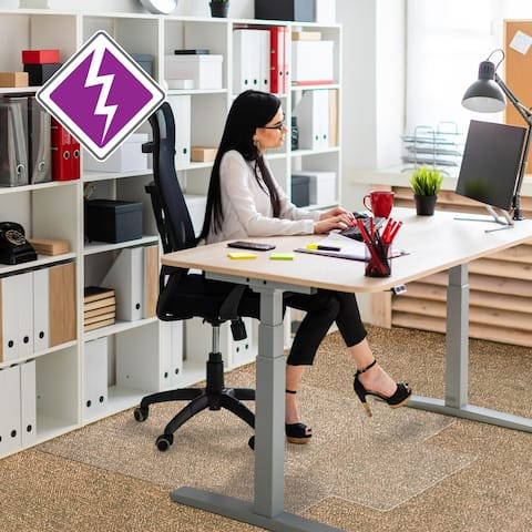 "Computex® Anti-Static Vinyl Lipped Chair Mat for Carpets up to 3/8"" - 36"" x 48"""