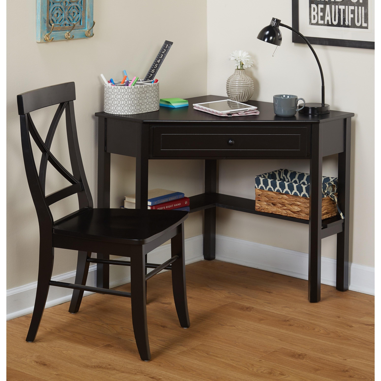 Simple Living Black Corner Desk and Crossback Chair 2-pie...
